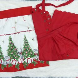 Vintage Holiday Print Half And Full Red Apron Red Lot Of 2 Kittens Trees