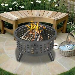26 Round Fire Pit Fire Bowl Ceramic Wood Burning Grill Firepit W/cover Ourdoor