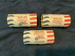 3 2007-d Uncirculated 25 George Washington Golden Dollar Rolls From Us Mint