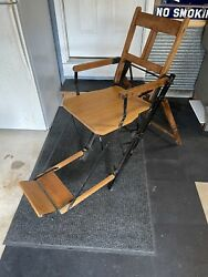Antique Wood Barber Or Dentist Chair Portable And Folding Cast Iron Doctor Chair