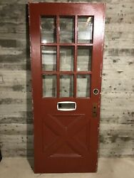 Antique Farmhouse Exterior Wood Entry Door /w Cross Buck Panel And 9 Glass 32x80