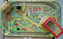 Vintage Marx Tin Toy Lithograph 0 Scale Wind-up Train Track Village Base Only
