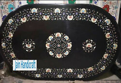 48x30 Black Marble Coffee Corner Center Inlay Table Top Antique Mosaic O8