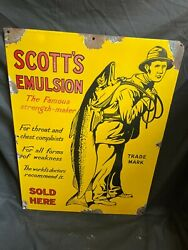 1930and039s Old Scottand039s Emulsion Sold Here Ad Pictorial Porcelain Enamel Sign Board