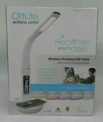 Ottlite Led Desk Lamp With Clock And Wireless Charging Station