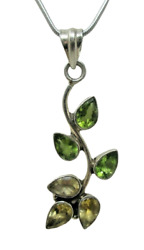 Cirtine Peridot Leaf Floral Vine Necklace Sterling Silver 925 20 In Rope Chain