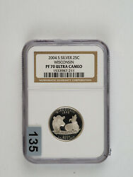 2004 S Wisconsin State Quarter 25c Silver Ngc Pf 70 Ultra Cameo