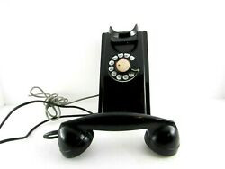 Vintage Rotary Phone Black Wall Mount Telephone Bell Western Electric Rare Look