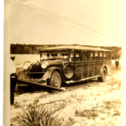 AMAZING 1920s Vintage FLORIDA BUS Stuck in Mud Going to Palm Beach Miami Auto $28.00