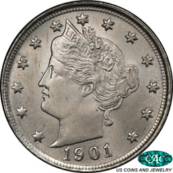 1901-p Liberty V Nickel Pcgs Ms66+ Cac Nice Lustrous Coin