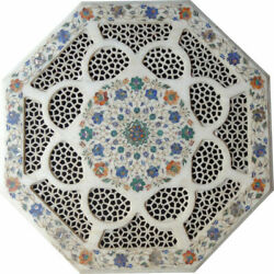 30and039and039 White Marble Table Top Center Coffee Inlay Malachite Flower Antique Oe