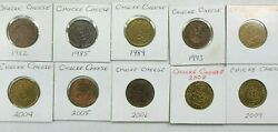 Lot Of 10 Chuck E Cheese Tokens 1982-2009 Bkbx