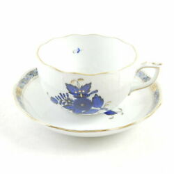 Herend Apony Blue Teacup And Saucer 1 Sy1571j