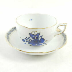 Herend Apony Blue Teacup And Saucer 1 Sy1570j