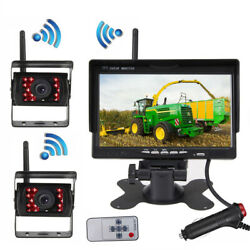 Wireless 7and039and039 Rear View Monitor+ 2 X Backup Camera System For Truck Trailer Farm