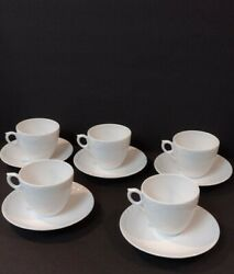 Lot Of 10 Vintage Royal Copenhagen Half White Lace 5 Cups And 5 Saucers 072, 673