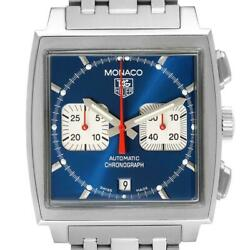Tag Heuer Monaco Blue Dial Automatic Chronograph Mens Watch Cw2113 Card
