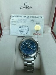 Omega Speedmaster Day Date 3523.80 With Card Triple Calendar Blue 39mm Automatic