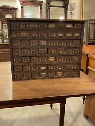 Incredible Antique Oak Hardware Store 56 Drawer Cabinet Table Top 1900 Nice Look