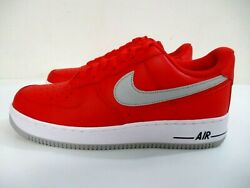 Nike Air Force 1 Dd7113-600 Low Red Light Smoke Grey Shoes Men's Size 10