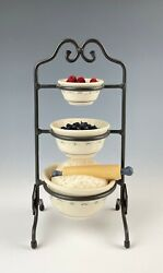 Longaberger Collectors Club Miniature Mixing Bowls Three Tier Stand With Extras