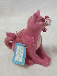 Whimsiclay Pinky 15458 Pink Cat Figurine By Amy Lacombe Fancy Felines