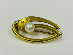 Brooch 585 Gold With Small Diamonds And Pearl 547g Approx. 3cm Big 44686