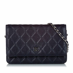 Pre-loved Black Caviar Leather Matelasse Wallet On Chain Italy