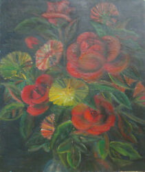 Antique C 1900 American Oil Painting Red Roses And Marigolds Flowers