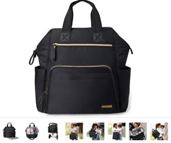 SKIP HOP Mainframe Wide Open Backpack Diaper Bag Black Pouch NEW W TAGS NWT $75 $56.00