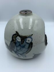 Vintage Asahi Owl Hanging Ashtray In Great Speckled Stoneware Japan Pottery