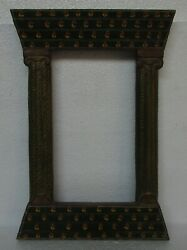 Vintage Old Hand Carved Painted Wooden Mirror / Picture Photo Frame Collectible