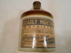 Antique Stoneware Whiskey Advertising Jug Apothecary Grannieand039s Deadly Poison 6