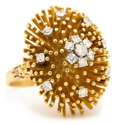 Beautiful Mid Century 18 Kt Yellow Gold Spikes Cocktail Ring With Fine Diamonds
