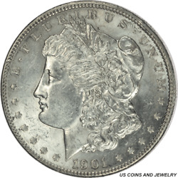 1901-p Morgan Silver Dollar Uncertified Uncirculated - White Coin