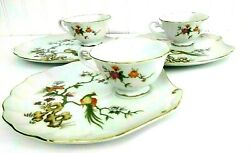 Lefton China Snack Plate Tea Cup And Saucer Hand Painted With Pheasant 6 Piece.