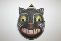Black Cat Plastic Halloween Mask Adult Vintage Reproduction Nwt Antique Inspired