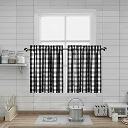 Black And White Farmhouse Gingham Tiers Kitchen Curtains 24 Inches Long Buffa...