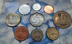 Gibraltar 1998 Brilliant Uncirculated Coin Set. Rare Dolphins 50p + Hercules Andpound2