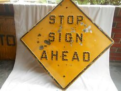Stop Sign Ahead--yellow Road /street Sign With 140 Cat-eyes--30 X 30