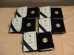 2012 1/10 Oz Proof Gold 5 American Eagle 5 Coin Lot, All Gems In Orig. Cases