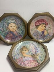 3 Edna Hibel Plates In Frames Ready To Hang Isabella Markeen Marquis