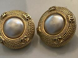 Vintage Round Cc Button Clip-on Earrings Metal And Faux Pearl