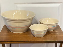 Vintage Mccoy Pottery Ovenware Mixing Bowls Pink And Blue Stripe 6, 7, 12