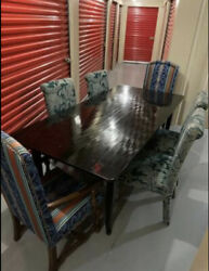 A Vintage Black Lacquered Farm Table Early/mid 20th Century