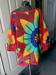Michael Simon L Xl 1x Over Sized Crochet Open Flower Sweater Cover Up Christmas