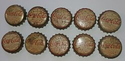 Rare Vintage Old 1920s Coca-cola Metal Bottle Caps10cork Lining Free Shippin