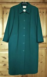 New Ladies Eastex Turquoise Green 100 Wool Long Coat. Size 18-20-22. Rrp Andpound169