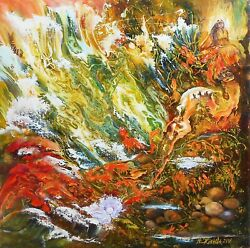 Original Fantasy Painting Underwater, Surreal Oil Painting On Canvas Odyssey