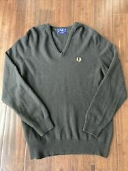 Fred Perry Lambswool Sweater V Neck Black Made In Scotland Size 42 Men's $39.00